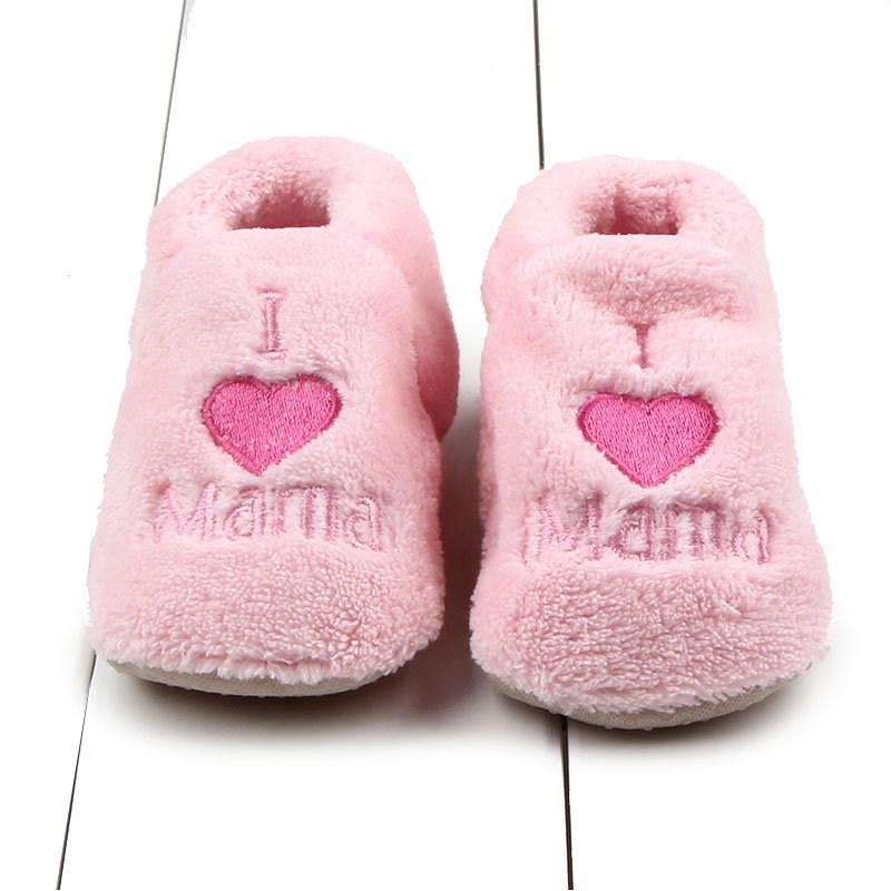 Soft Coral fleece Baby shoes warm Toddler Kids Boy Girls Heart&Letter Pattern Crib First Walkers Skid-proof Shoes