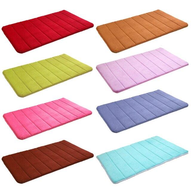 NC Bathroon Accessories Memory Foam Coral Fleece Fabric Non-slip Floor Bath Mats Safety Bathroom Toilet Floor Carpet Pad