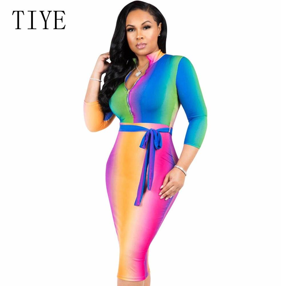 TIYE Plus Size S-XXXL Rainbow Tie-Dye Print Casual Pencil Dresses Women Long Sleeve V Neck Bodycon Bandage Dress Vestidos Robe