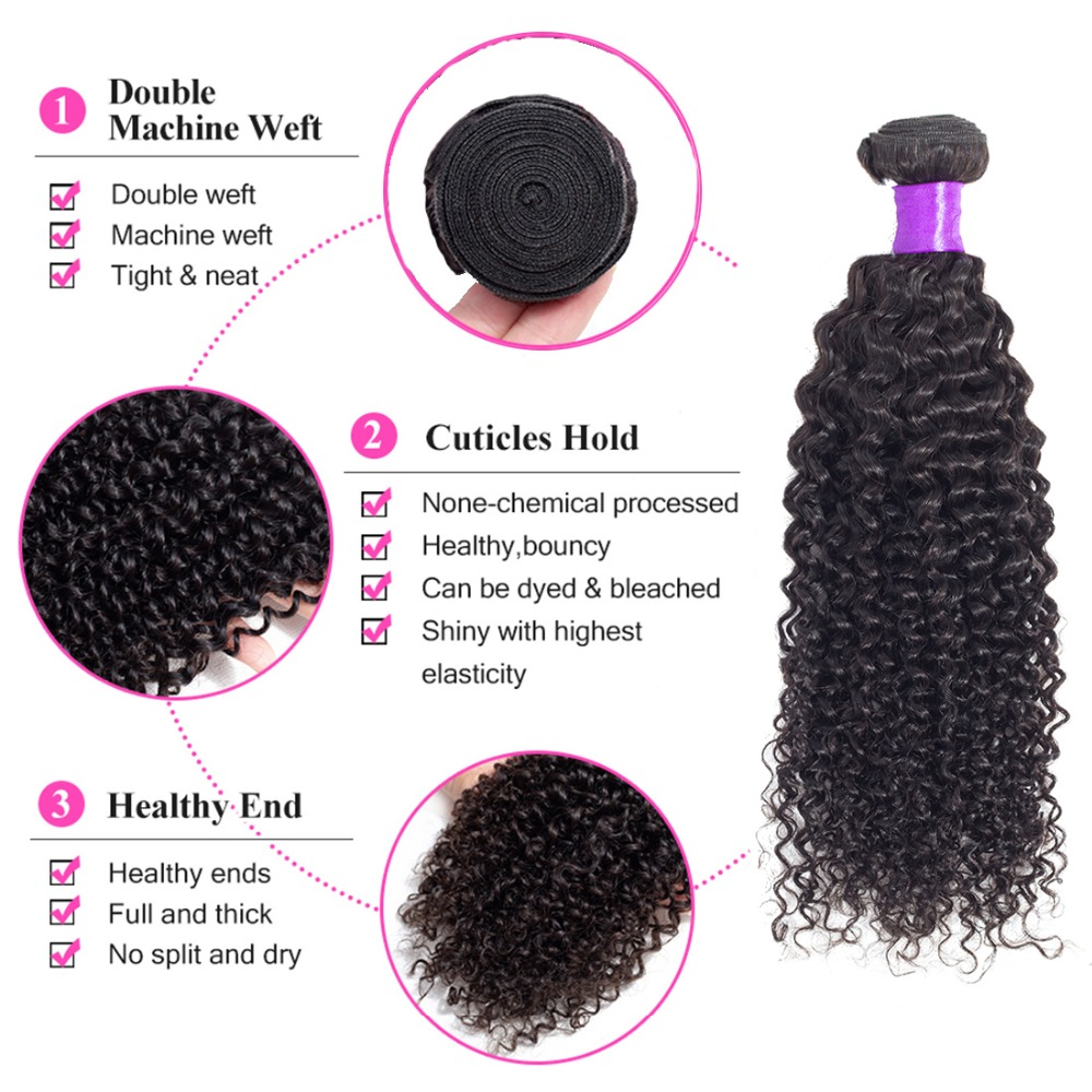 Jarin Kinky Curly Hair 1 Piece 100g Natural Color 8-26 Inch Peruvian Hair Weave Bundles Deal Remy Real Human Hair Extensions Hair Extensions & Wigs