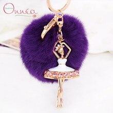 Onnea Personalized Cute Dancing Girl Keychains Rabbit Fur Ball Keychains Rhinestone Pompom Key Chain Women Car