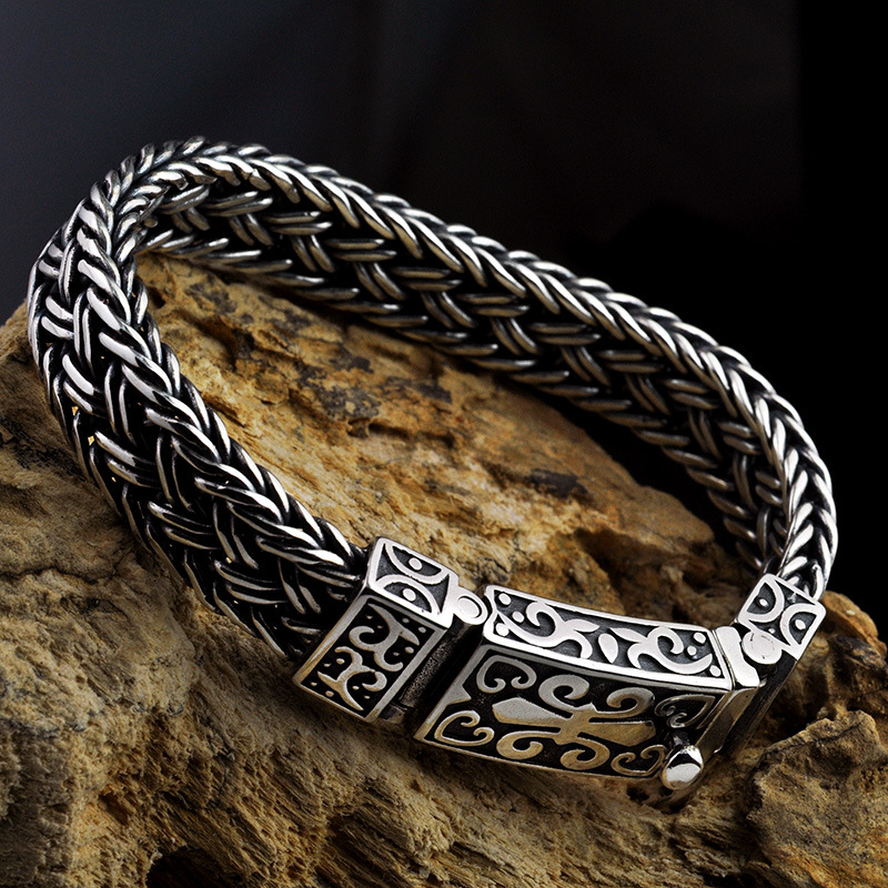 Image 3 - Real 925 Sterling Silver Bracelet Men's and Women's Wide 11mm Retro Punk Rock Wire Chain Chain and Bracelet Thai Silver Jewelry-in Charm Bracelets from Jewelry & Accessories
