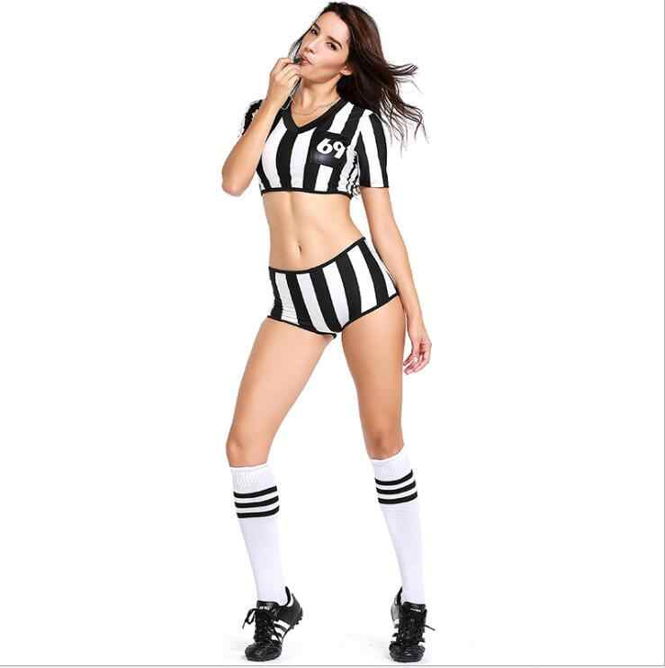 Eurocup árbitro cheerleader trajes sexy futebol meninas cheerleading uniforme preto branco listra cheerlead futebol roupa de festa do bebê