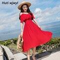 Plus Größe Sommer Chiffon Boho Midi Kleid 2019 Elegante Frauen Schwarz Sonne Sexy Sling Kleider Partei Koreanische Rot Casual Strand vestidos-in Kleider aus Damenbekleidung bei