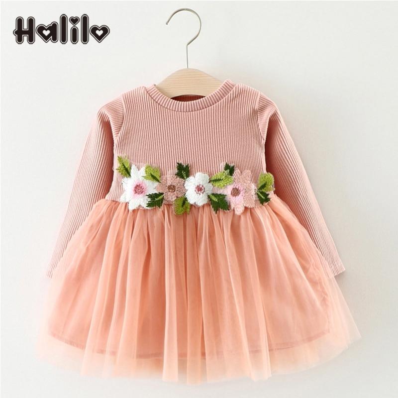 Halilo 2018 Spring Girls Dress Long Sleeve Flower Baby Girl Dresses Infant Baby Clothing Mesh Princess 1 Year Birthday Dress