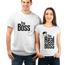 NiceMix Couple T-Shirt The Boss / Real Pattern Funny Tshirts Short Sleeve Womens Men Shirts Boyfriend Clothing
