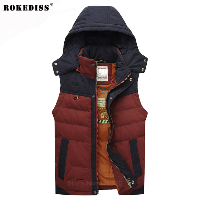 Chinese Winter Brand Men's Vest Down Jacket Male Jacket Hooded Warm Thermal Waistcoat Male Fashion Park Men Coat Size TC519