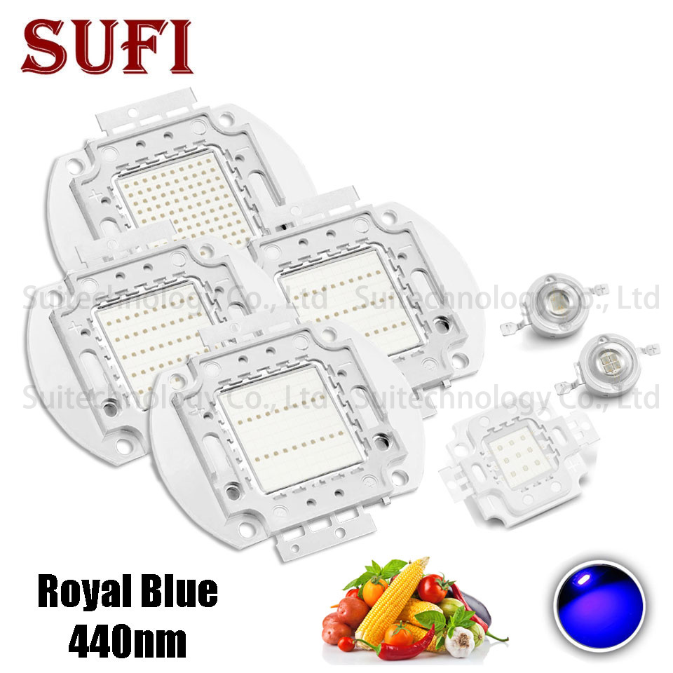 High Power 1W 3W 5W 10W 20W 30W 50W 100W 440 Nm LED Chip SMD COB Diode LED Grow Light Royal Blue 440nm For DIY Indoor Plant Grow