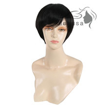 Medusa hair products: Synthetic african american pastel wigs Ultra sleek pixie cut style short black Afro wig with bangs SW0110A