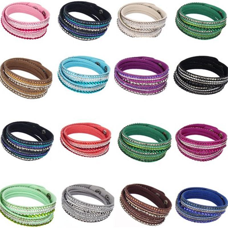Hot Sale Korean Fashion PU Leather Multi-layer Rhinestones Crystal Wrap Bracelet For Women