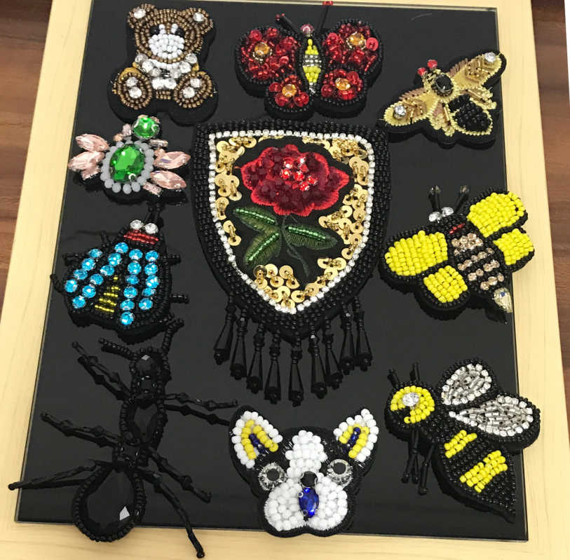 Nero formica golden bee dog spider insetti paillettes pietre bling Strass perline appliques patch spilla ape