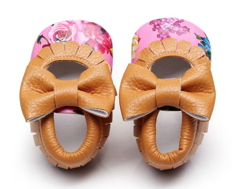 6 colors Newborn fashion floral printing Pu leather Baby Moccasins First walker Mary jane princess Girls soft sole infant shoes