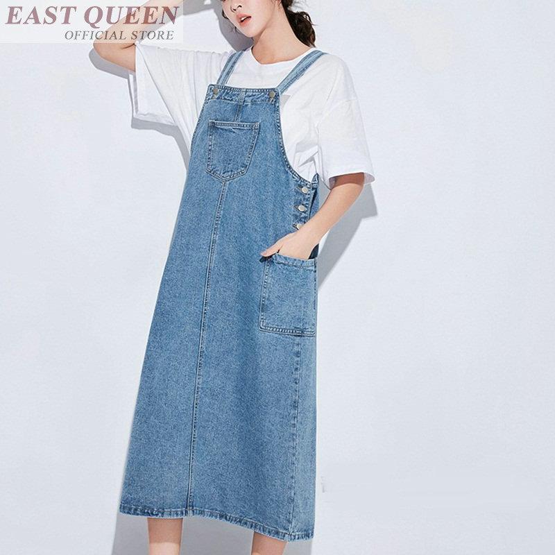Women jeans dresses spaghetti strap denim overalls sundress a-line sleeveless mid-calf solid summer female dressing DD591 L