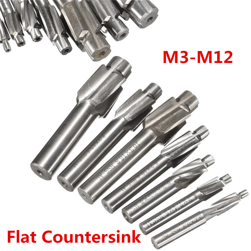 7 Piece Set Sunk Head Milling Cutter Countersunk Drill HSS AL Flat Countersink  End Milling Cutter Drill Bits Set m3-m12 head струна head lynx set