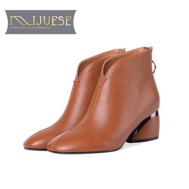 5beb932e503 US $72.95 44% OFF|MLJUESE 2019 women ankle boots soft cow leather zippers  Camel color high heels boots winter short plush boots size 34 41-in Ankle  ...