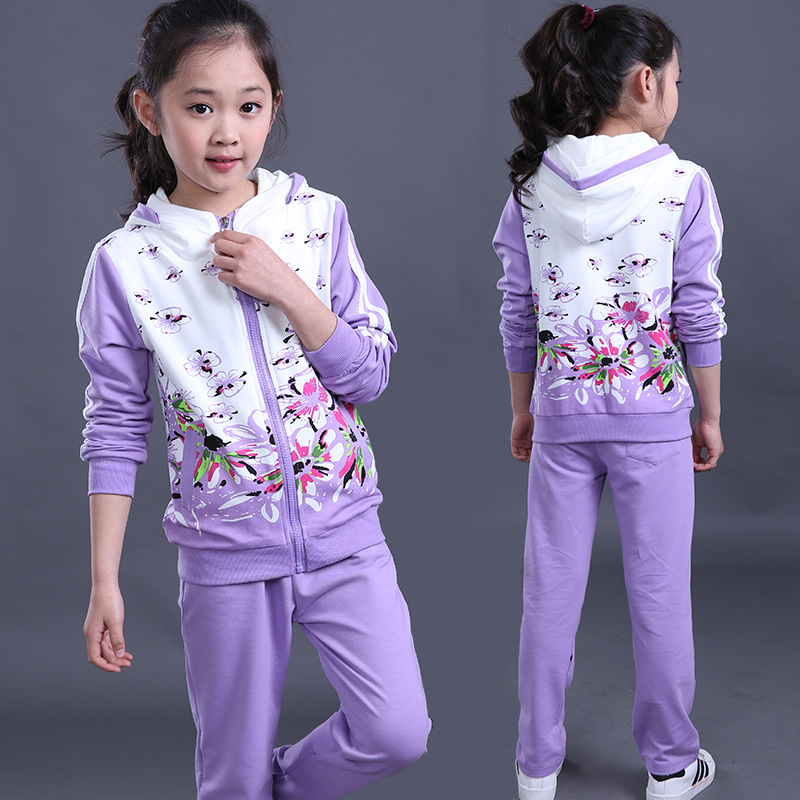 Hotsale childrens sports suits high quality two pieces 5 years to 15 years girls clothing sets for spring autumn