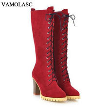 VAMOLASC New Women Autumn Winter Warm Faux Suede Mid Calf Boots Sexy Square High Heel Boots Platform Women Shoes Plus Size 34-40