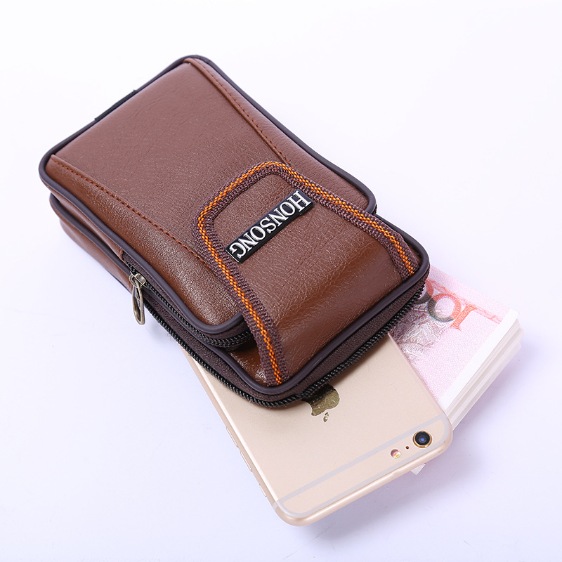 BISI GORO Multi-function Phone Coin Men Waist Bag Vintage On The Belt Outdoor Small Wallet 2020 Wear-resistant PU Heuptas Heren