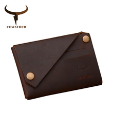 COWATHER New arrival Credit Card holder Crazy horse leather wallet men