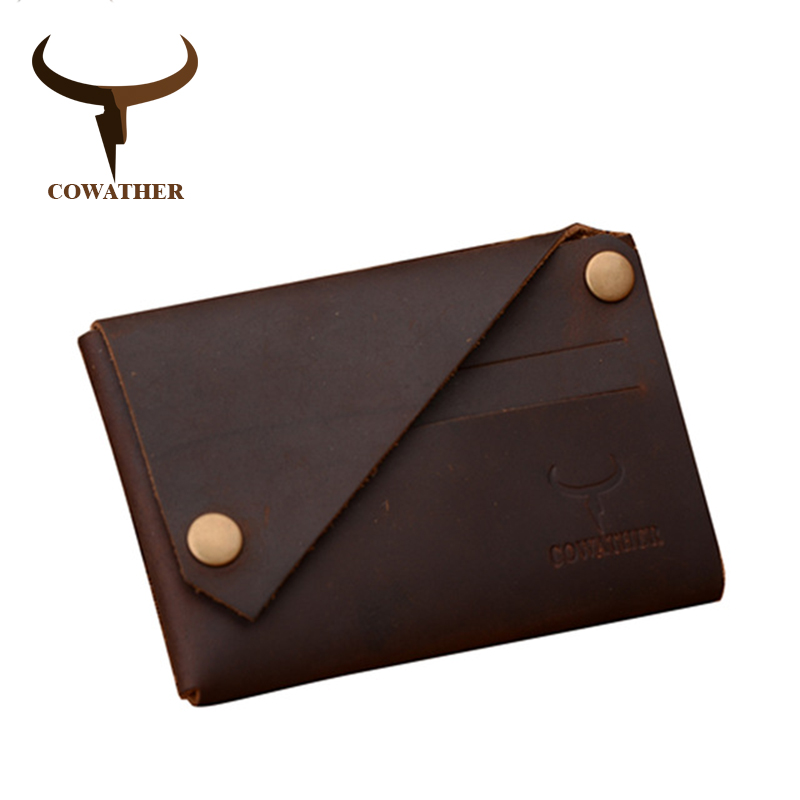 COWATHER New Arrival Credit Card Holder Crazy Horse Leather Wallet Men Cow Genuine Leather Good Cards Holders 126  Free Shipping
