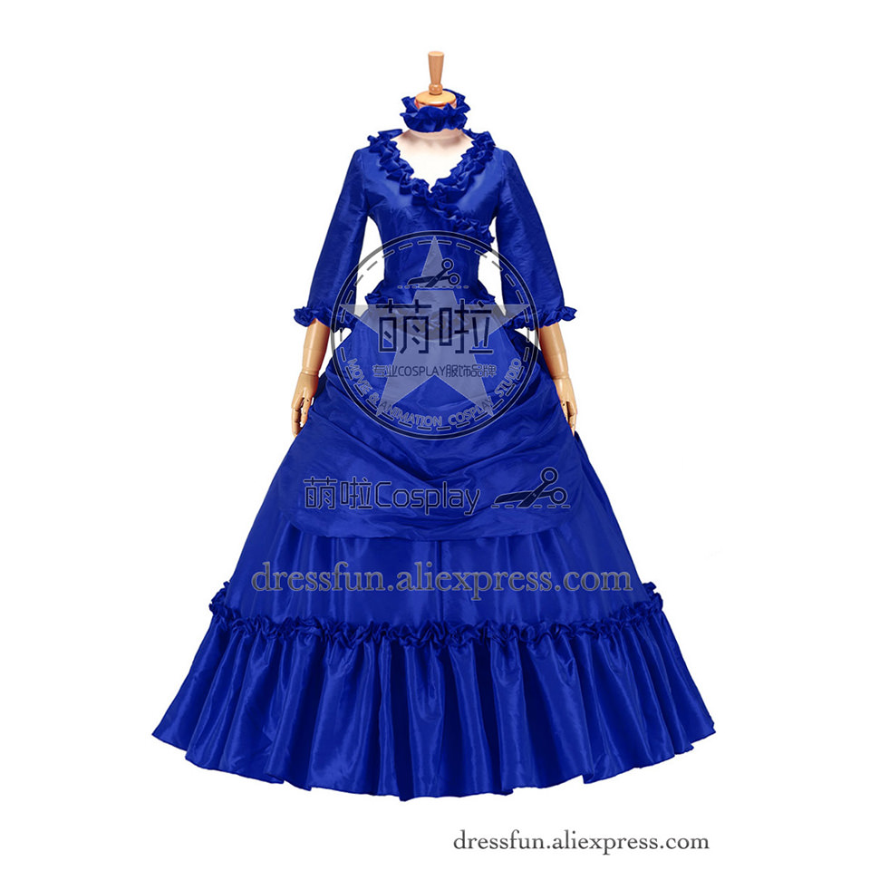 Classy French Victorian Bustle Satin Ball Gown Period Dress Quarter ...