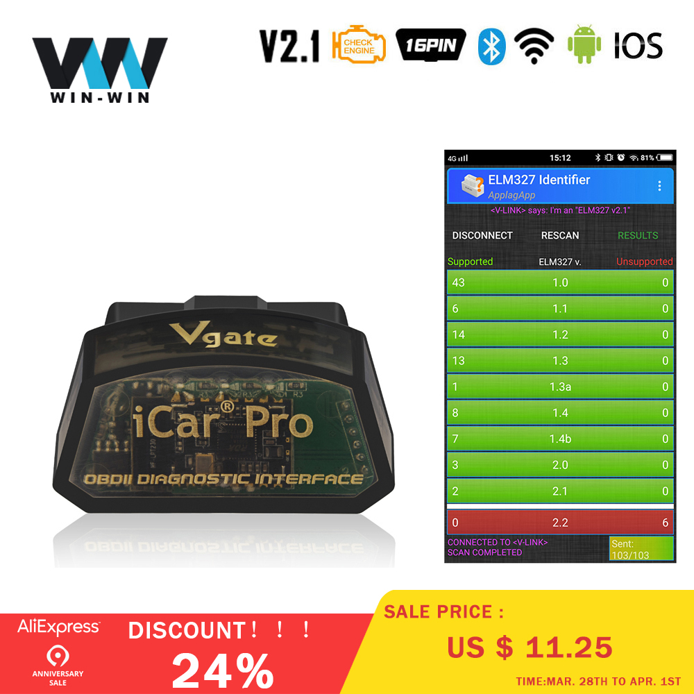Vgate iCar Pro Bluetooth 4.0 OBDII Adapter OBDII EOBD Car Auto Diagnose Tools
