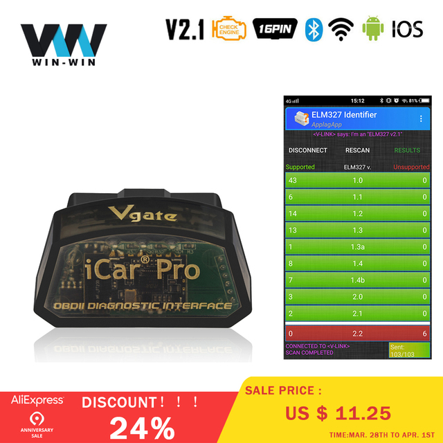 US $11 4 24% OFF|Vgate iCar Pro Bluetooth 4 0/WIFI OBD2 Scanner For  Android/IOS Car Diagnostic Tool ELM327 V2 1 iCar Pro Bluetooth/WIFI  Scanner-in