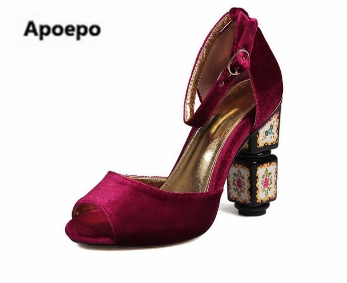 Apoepo brand European retro suede pumps red black blue strange style pumps ankle strap sexy peep toe high heels shoes women 2018 apoepo brand 2017 zapatos mujer black and red shoes women peep toe pumps sexy high heels shoes women s platform pumps size 43