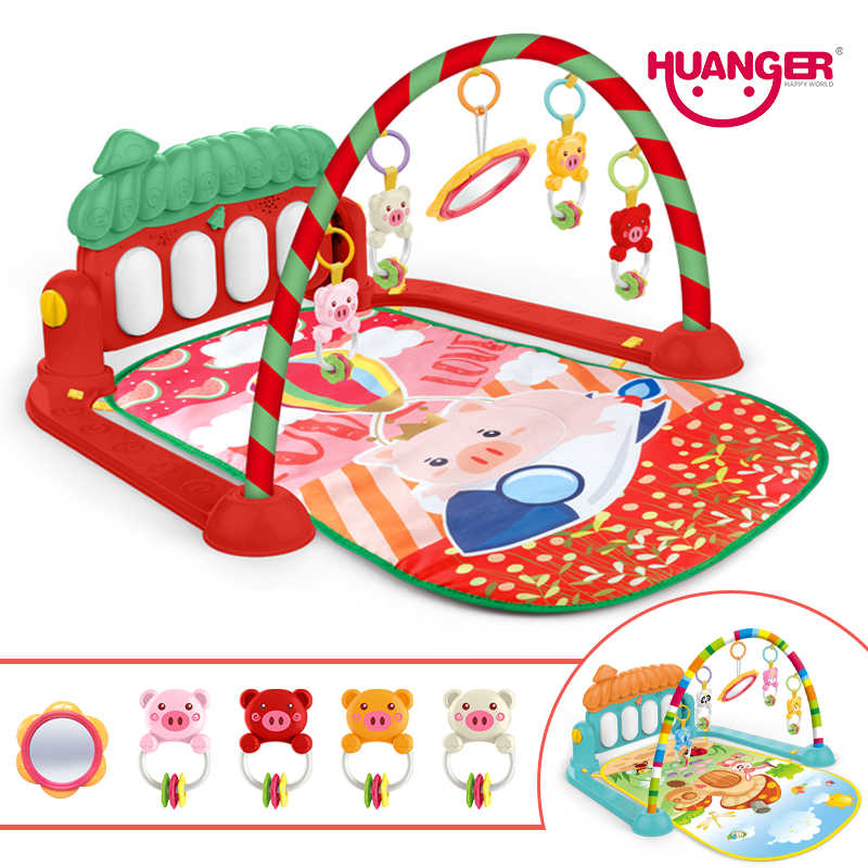 Huanger Baby Activity Gym Soft Play Mat Water Carpet for Baby Pig Music Crawling Developing Fitness Rack Rug Kid Infant Tapi Toy