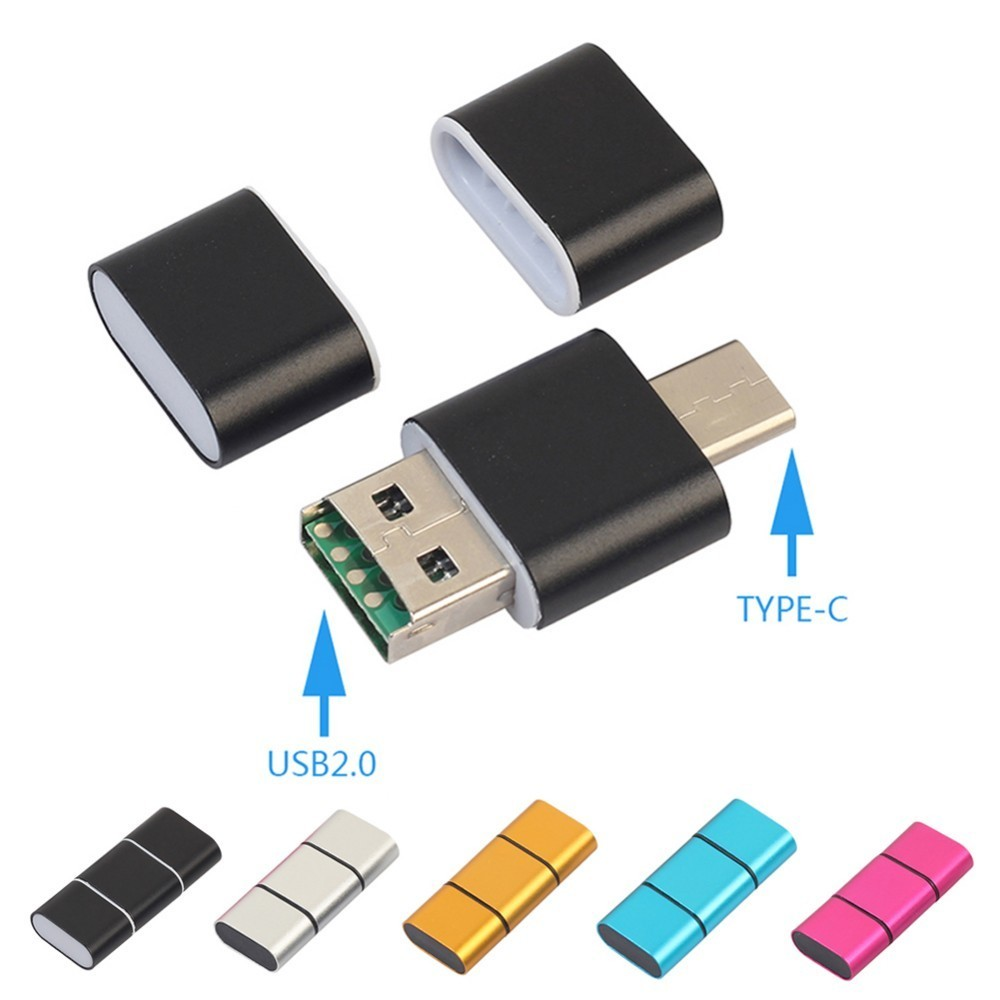Aluminum Alloy Dual Use OTG Card Reader Type-C USB2.0 2 In 1 OTG Adapter Maximum 128GB SD Card TF Flash Cardreader Drop Shipping