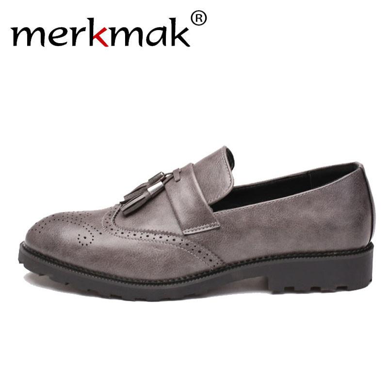 Merkmak Men Leather Loafers Brand Shoes For Man Classic Tassel Design Brogue Mans Footwear Big Size 47 Formal Shoes 37-48