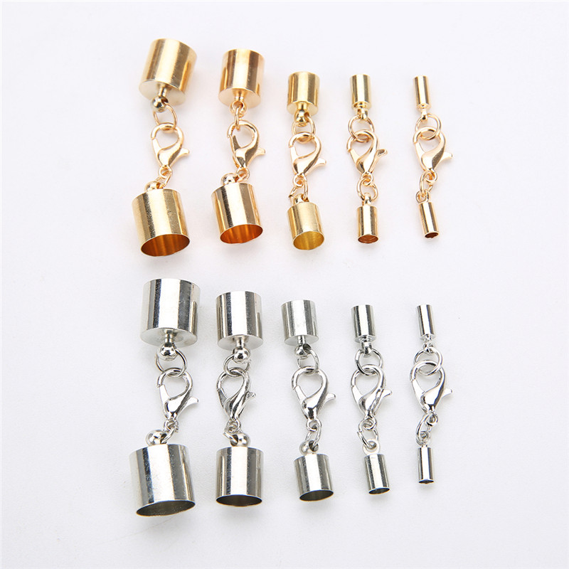 10set Metal Cord End Connectors Clasp Fit 3/4/6/8/10mm Leather Cord Bracelet Gold Color Lobster Clasps Hook For Jewelry Making