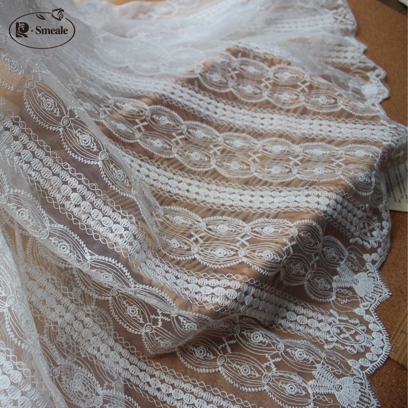 6e2e1c6681 White Small Fresh Curtain Stripe Lace Material Diy Gauze Lace Fabric 150cm  Garment Cloth Wedding Stage