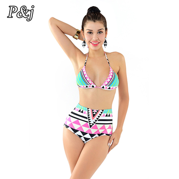 Women's Vintage Halter Backless Bikini Set High Waist Design