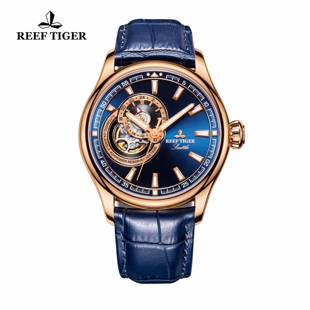 Reef Tiger/RT reloj de los hombres vestido azul Tourbillon relojes Top marca de lujo reloj mecánico automático Relogio Masculino RGA1639