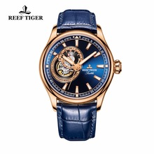 Reef Tiger / RT Klänning Mäns Watch Rose Guld Tone Tourbillon Klockor Blå Dial Quartz Analog Armbandsur RGA1639