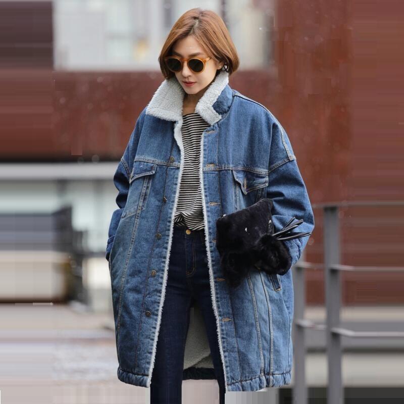 Surdimensionné Agneaux Feelce Hiver Femmes Denim Laine Épaissie Long Agneau 2018 Manteau Automne Velours Coréen Lâche Vestes EATqwnt