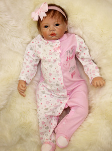 silicone reborn baby soft body Early Education Toy 55 cm Pink Clothing 22inch hot sale Toddler Brinquedos for kid free shipping