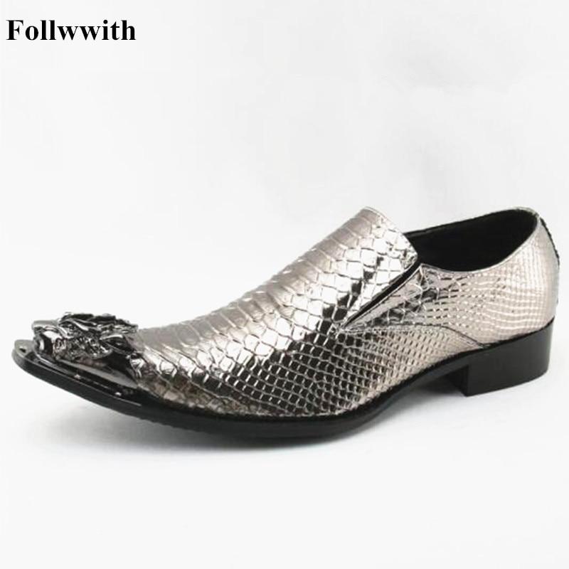 Heel Pic Loafers Decor as Metallic Slip Schuhe As Follwwith Auf Männer Snakeskin Metall 2019 Casual Leder Pic Spitz Low Tier Alligator wqCzxpS