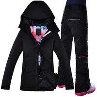2018 Women Ski Suit Gsou Snow Thermal Skiing Snowboard Waterproof Windproof Outdoor Sport Wear Jacket Pant Super Warm Clothing