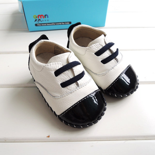2017 OMN Spring Autumn Genuine Leather Baby Shoes Casual Loafers Baby Boys Fashion white/black Ppatch Toddler Shoes