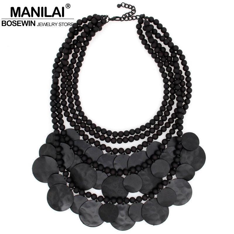Women Multilayers Statement Necklace Fashion Black Bead Chain Metal Piece Chokers Bib Collares Maxi Necklaces & Pendants Collier fashion statement acrylic necklaces round pendant leather chain maxi necklace women pendants colar chocker kolye collares choker