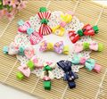 2Pcs/lot Kids Hair Accessories Clips For Girls Candy Color Dot Print Ribbon Bow Hairpin BB Hair Clips