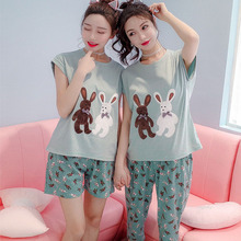 2017 Cotton Cute Women Pajamas 2 Pieces Set sister Pyjama Short Tops+ short pants short tops+ calf-length Pants XXL plus size