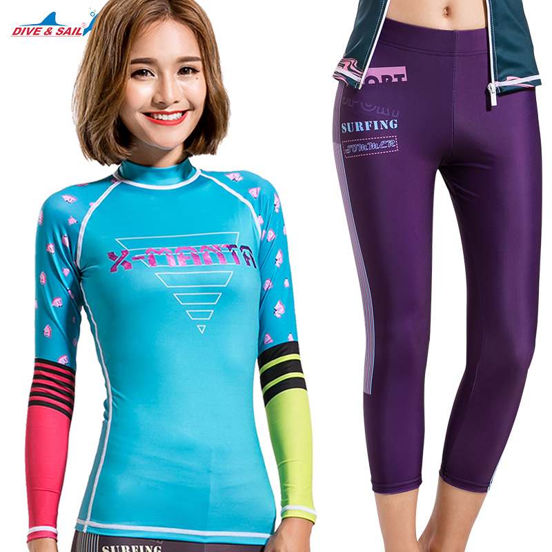 89d5f2b944 Dive Sail women rashguard shirts suit cropped pants surf skin dive girls  swimsuit-in Rash Guard from Sports   Entertainment on Aliexpress.com