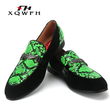 Men Loafers Handmade Snake Leather Smoking Slippers Wedding and Party Mens Classic Shoes