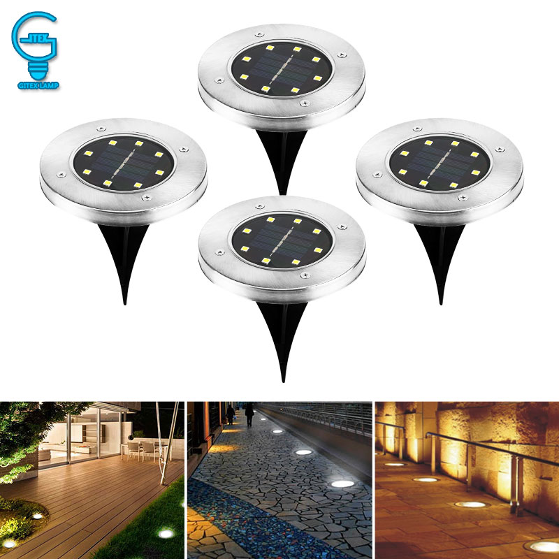 8 Led Solar Powered Ground Light Water Resistant Buried