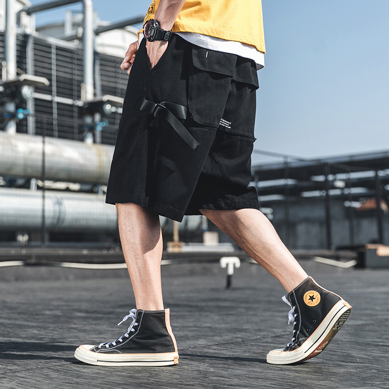 New Multi-Pocket Stylish Mens Cargo Short-Pants Hip Hop Summer Male Elastic Waist Casual Shorts Loose Ribbon Streetwear OvreSize
