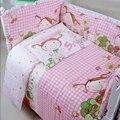 Pink Lovely Girl Bebé de la Impresión Juego de Cama para Niñas, Infantiles de Dibujos Animados Bebé ropa de Cama Cuna Set, 10 unids Niño Juegos de cama, Paracolpi Lettino