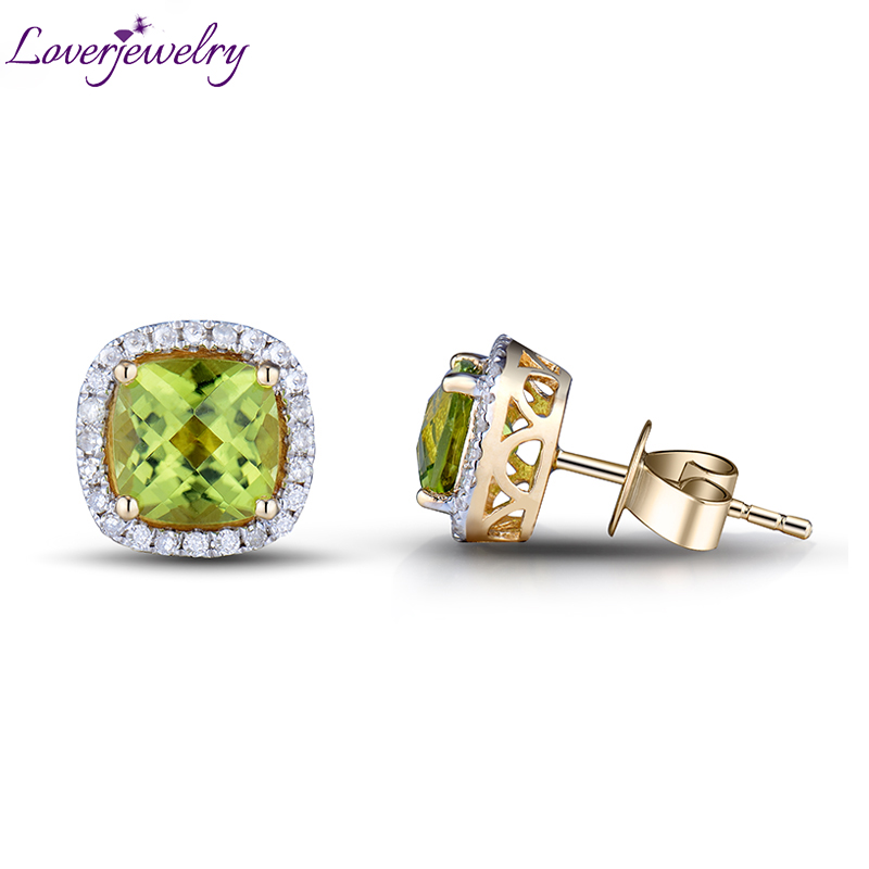 Hot Style New Cushion 6mm Natural Diamond Green Peridot Solid 14kt Yellow Gold Earrings for Women Wedding Party ESR0053